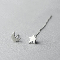 Shooting star posts, thread earrings, star and moon, minimalist dainty jewellery, sterling silver, asymmetrical earrings