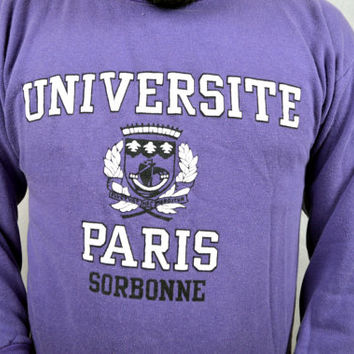 Vintage University of Sorbonne Paris France Purple Sweatshirt