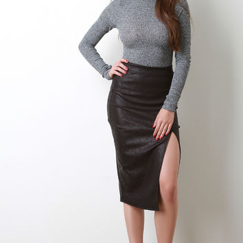 Vegan Leather Vent Slit Skirt