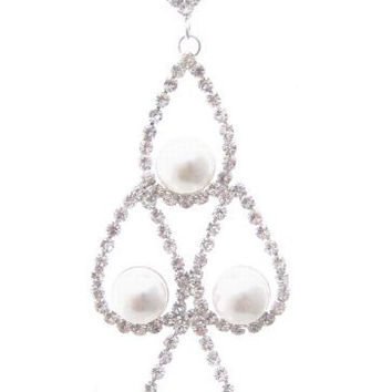 Bling White Faux Pearl Chandelier Bridal Earrings W Silver Tone W Rhinestones