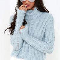 Mineral Springs Blue Cable Knit Crop Sweater
