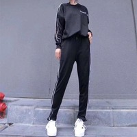 ONETOW balenciaga women casual stripe letter pattern print long sleeve trousers set two piece sportswear 2