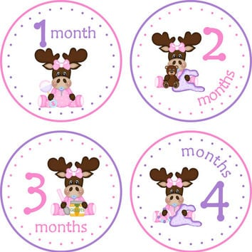 Monthly Baby Milestone Stickers Baby Girl Baby Shower Gift One-Piece Baby Stickers Monthly Baby Stickers Baby Month Sticker Baby Moose
