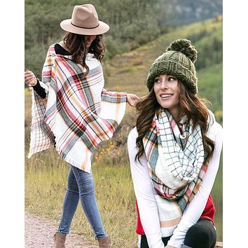 Grace & Lace Reversible Button Scarf/Poncho (Ivory Plaid)