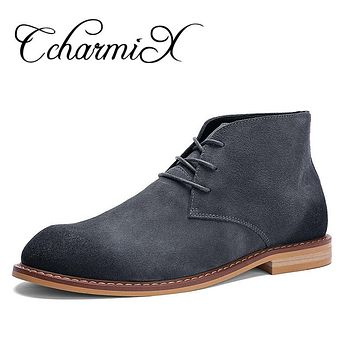 Men Boots Spring Solid Casual Suede Leather Boot For Man Booties Chukka Lace Up Dress Boot Fashion Men Shoe