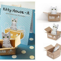 Little gary cat sticky notes Miniature carton box cat house Sticky note mini pet cat memo animal Post-it Index Sticky Memo Pad Paper gift