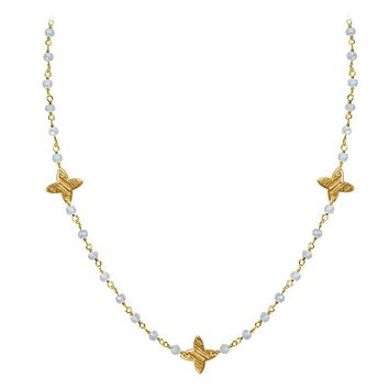 "CHG-197-RM-18"" 18K Gold Overlay Necklace With Rainbow Moonstone"