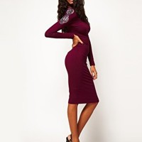 ASOS Midi Bodycon Dress With Embellished Sleeve at asos.com