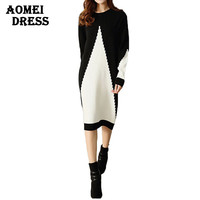 Women Sweater Dress White and Black Midi Winter Knitted Long Sleeve Casual Fashion Femme Robes Gowns Office Ladies Clothing