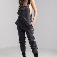 Champion Women's Thick Fleece Embroidered C Overalls in Black, Granite Heather