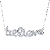 Believe Logo With Cz Necklace In Rhodium Plated Sterling Silver - 18 Inches