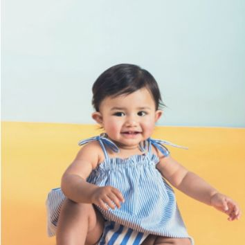 Harbor Stripe Ruffle Sunsuit