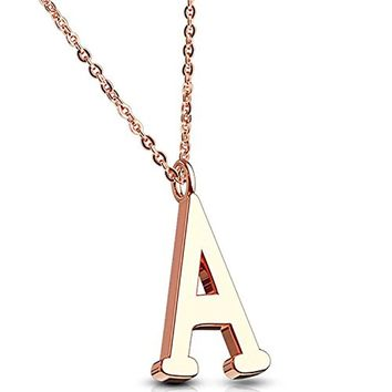 BodyJ4You Letter Necklace A Initial Alphabet Charm A Stainless Steel Rose Goldtone Chain