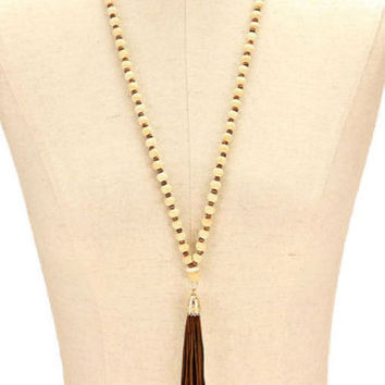 Gold, Natural & Brown Tassel Drop Wood Bead Strand Long Necklace
