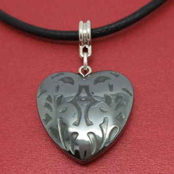 Heart Necklace Leather NEW Hematite Charm Pendant and Cord Valentines Day Love