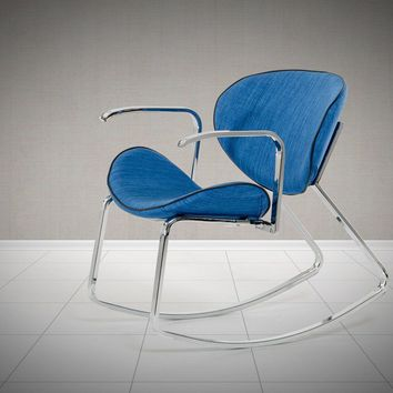 Modrest Corvallis Modern Blue Fabric Rocking Arm Chair