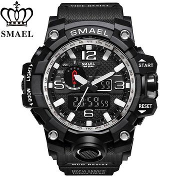 SMAEL Top Brand Luxury Dual Display Watches Mens Military Quartz Watch Men Shock Resistant Sports Style Digital Clock Relogio