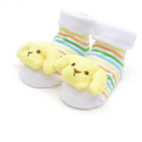"""Striped Sock with 3D """"Doggie""""  for Infant/ Baby Girls or Boys"""