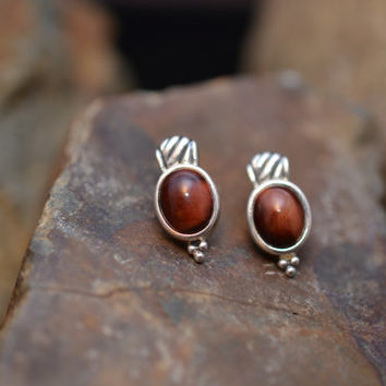 Sterling Silver and Red Tigers Eye Post Earrings