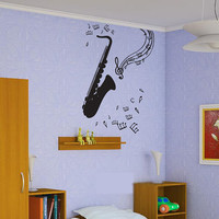 Wall Vinyl Sticker Decals Decor Kids Room Saxophone Music Notes 127
