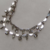 15 Inch Bib Metal and Rhinestone Necklace