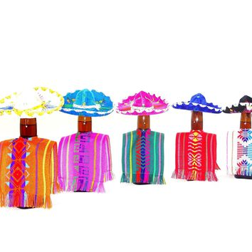 Bottle covers, Mexican fiesta decoration, Wedding decoration, Aztec Fabric, 5 botlle covers 5x12 Inches, Drinkware, Beverage Cover …