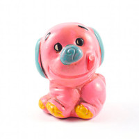 Pink Dog Piggy Bank Kitsch Retro Mod Small / Vintage 60s 70s