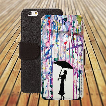 iphone 5 5s case watercolor rain iphone 4/ 4s iPhone 6 6 Plus iphone 5C Wallet Case , iPhone 5 Case, Cover, Cases colorful pattern L113