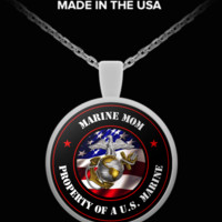 Military - Marine Mom - Property of a U.S. Marine - Necklace