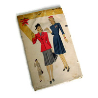 Vintage Sewing Pattern, Hollywood, 1940's, No. 769, Misses One Piece Dress with Jacket, Size 12, 30 Bust,  Retro Fashion, Hollywood Glamour