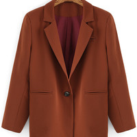 Brown Notch Lapel Long Sleeve Single Button Blazer with Pocket