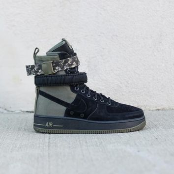 spbest NIKE - Men - SF Air Force 1 High - Black/Olive Camo