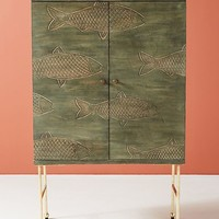 Handcarved Streamlet Bar Cabinet