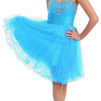 Stunning Short Strapless Turquoise Homecoming Dress Cocktail