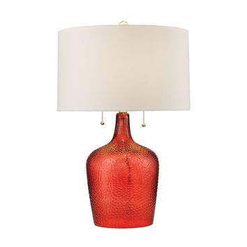 D2690 Hatteras Hammered Glass Table Lamp in Blood Orange - Free Shipping!