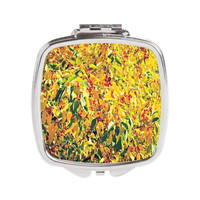 Floral Compact Mirror - FREE shipping to USA bright flowers yellow orange pretty spring summer pocket mirrors small gift cute colorful pop