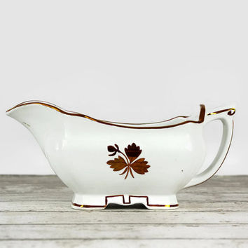 Vintage Ironstone Gravy Boat, Tea Leaf, Alfred Meakin, Antique Ironstone, 1800s