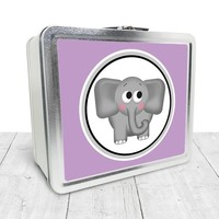 Cute Purple Elephant Lunch Box - Cute Elephant with Purple - Tin School Lunch Art Craft Supplies Box - Chalkboard inside - Made to Order