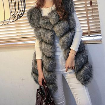 Faux Fur Vest Coat