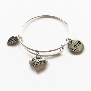 CHILD SIZE Sister Expandable Bracelet Sister Bracelet SiSter Adjustable Stacking Sister Charmed Bangle Bracelet Wire Bangle Bracelet (CB13)
