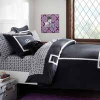 Ribbon Trim Duvet Cover + Sham, Black