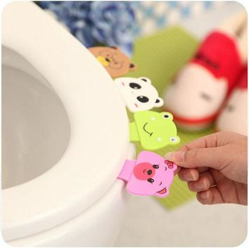 2017 Brand New Cute Cartoon Toilet Cover Lifting Device Toilet Lid Portable Handle Bathroom Toilet Seat Accessories XHH05317