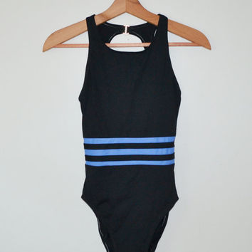 Vintage 80s Swimwear Swimsuit Bathing Suit Black Once Piece Swimming Costume Open Back Size 10 New Vintage With Tags