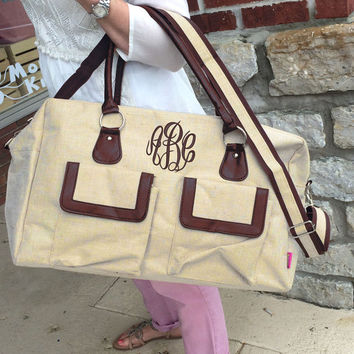 Jute Weekender Duffle Bag Monogram Font Shown MASTER CIRCLE in brown