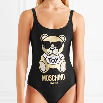 Moschino Teddy Bear Metallic Printed Swimsuit Bodysuit One-piece Bathing Suit
