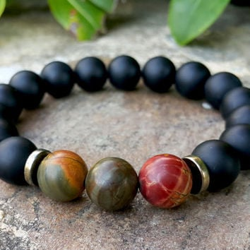 Picasso Jasper & Matte Black Onyx Mens Bracelet, Spiritual Gemstone Men's Mala Bracelet, Mens Jewelry, Comfort, Courage and Support