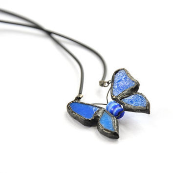 Blue butterfly stained glass necklace black finish