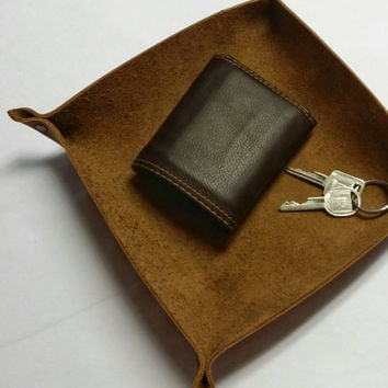 Mens Leather Valet / Large Leather Valet/ Leather Tray / Pocket Tray / Pocket Dump