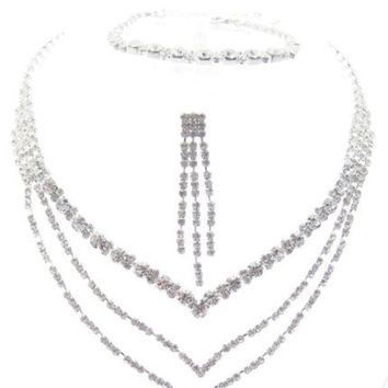 Sparkly 3 Piece V BRIDESMAID BRIDAL NECKLACE, EARRING, and BRACELET On Silver Tone