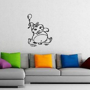 Wall Stickers Vinyl Decal Nursary Funny Hippo For Kids Unique Gift ig1418